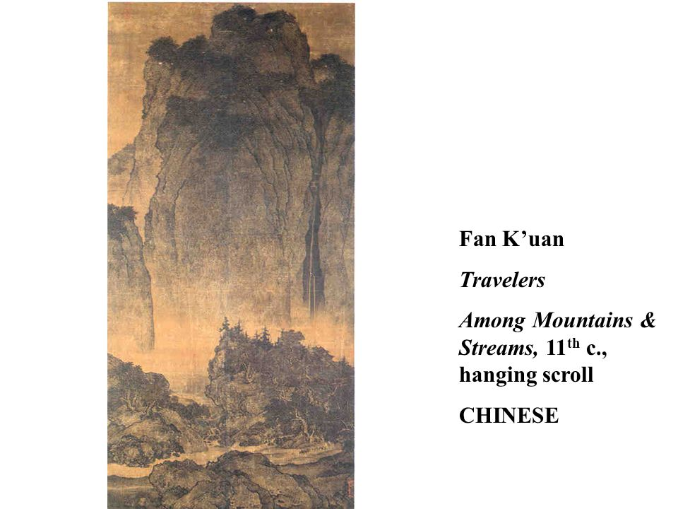 Fan K'uan Travelers Among Mountains & Streams, 11 th c., hanging scroll CHINESE
