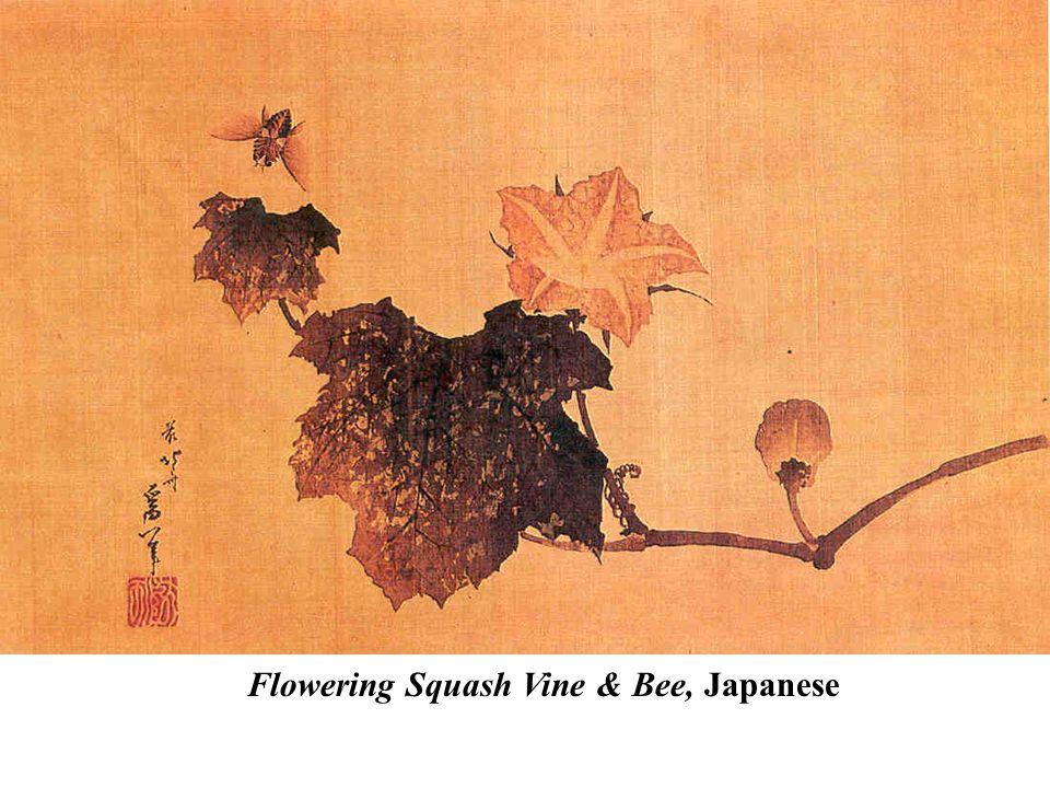 Flowering Squash Vine & Bee, Japanese