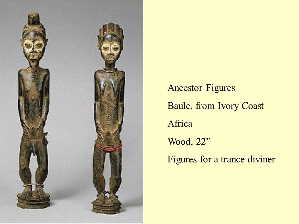"Ancestor Figures Baule, from Ivory Coast Africa Wood, 22"" Figures for a trance diviner"