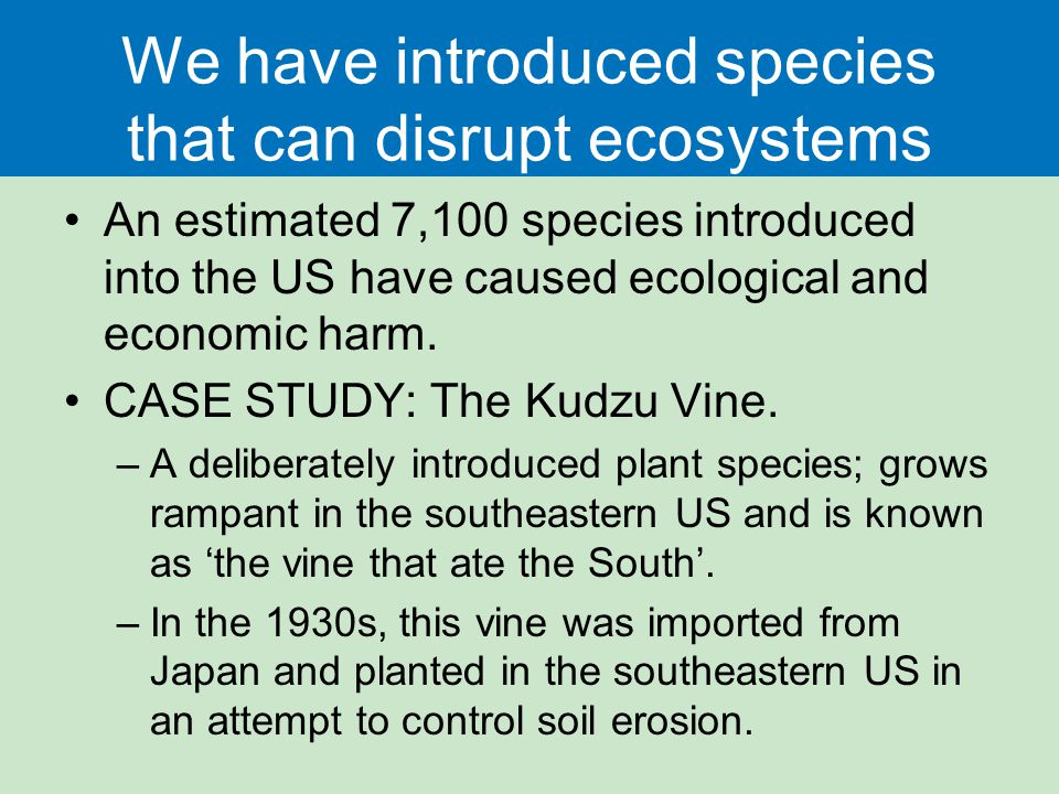We have introduced species that can disrupt ecosystems An estimated 7,100 species introduced into the US have caused ecological and economic harm. CAS