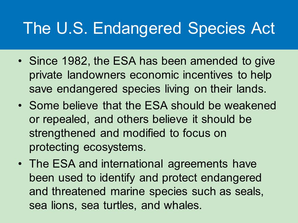 The U.S. Endangered Species Act Since 1982, the ESA has been amended to give private landowners economic incentives to help save endangered species li