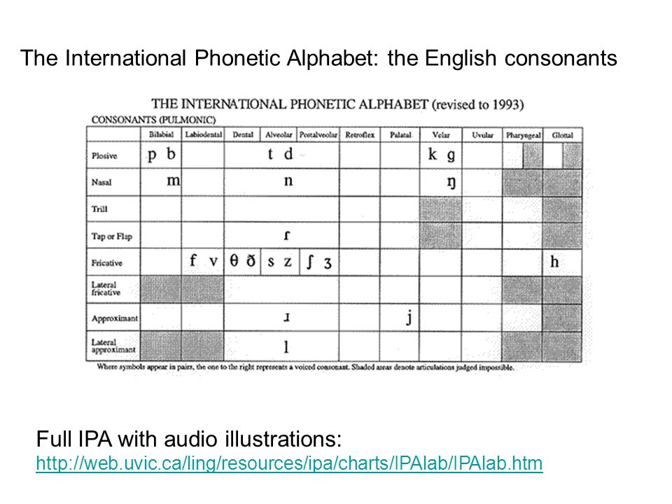The International Phonetic Alphabet: the English consonants Full IPA with audio illustrations: http://web.uvic.ca/ling/resources/ipa/charts/IPAlab/IPA