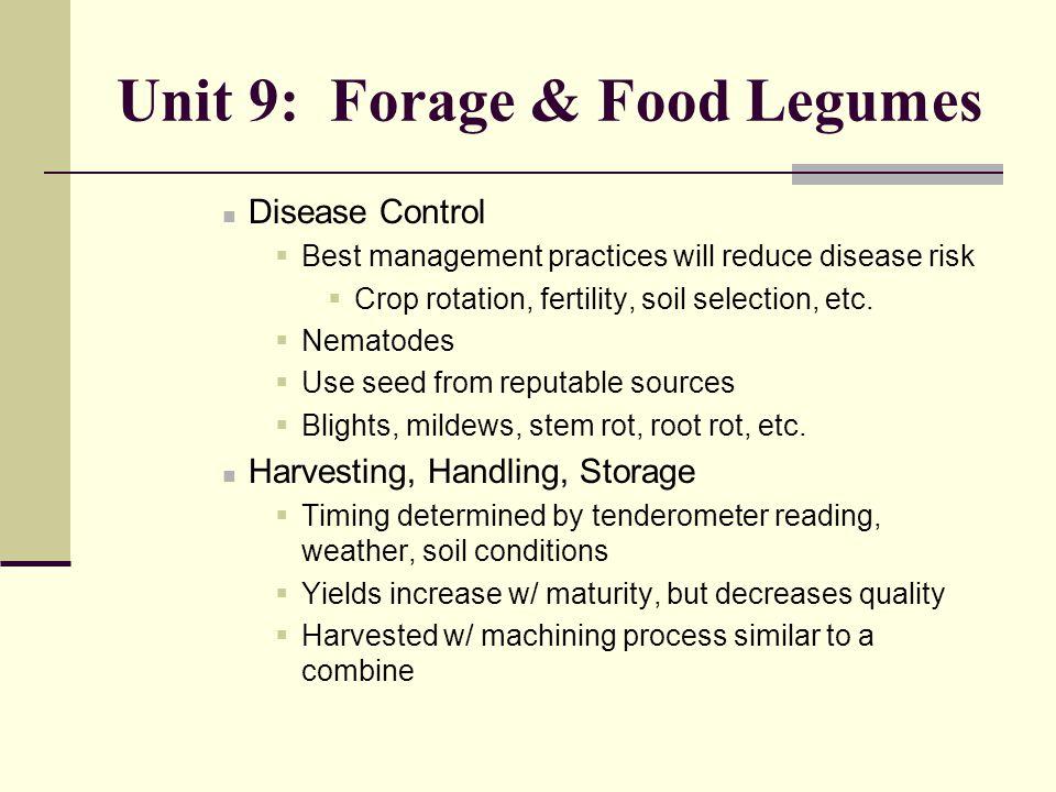 Unit 9: Forage & Food Legumes Disease Control  Best management practices will reduce disease risk  Crop rotation, fertility, soil selection, etc. 