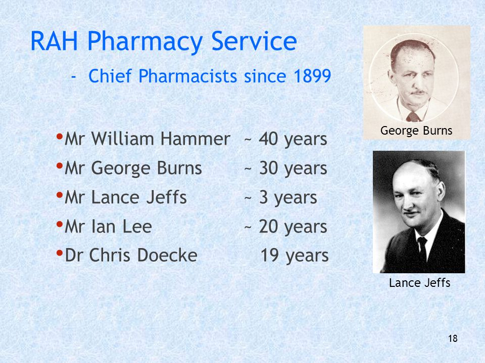 19 RAH Pharmacy Services 1899 -> early 1970s