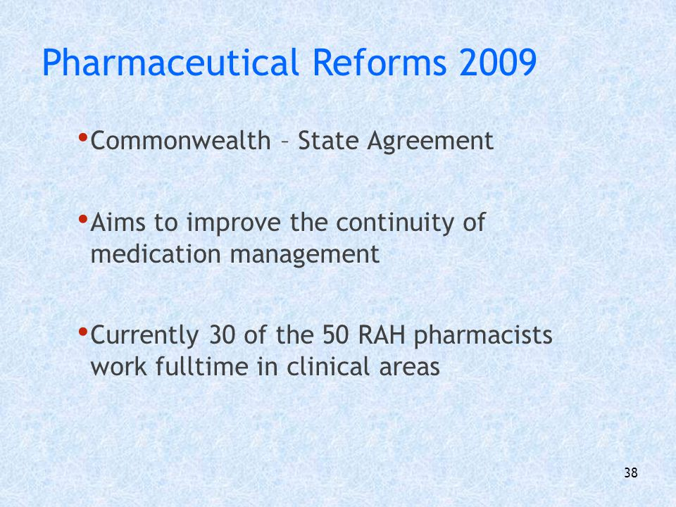 39 Formal link between UniSA and RAH Joint appointment Director of Pharmacy Services A/Professor of Pharmacy Practice Second in Australia in 1994 Pharmacy Teaching and Research