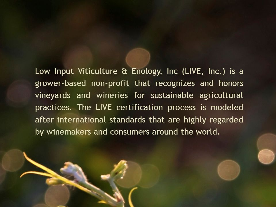 Low Input Viticulture & Enology, Inc (LIVE, Inc.) is a grower-based non-profit that recognizes and honors vineyards and wineries for sustainable agricultural practices.
