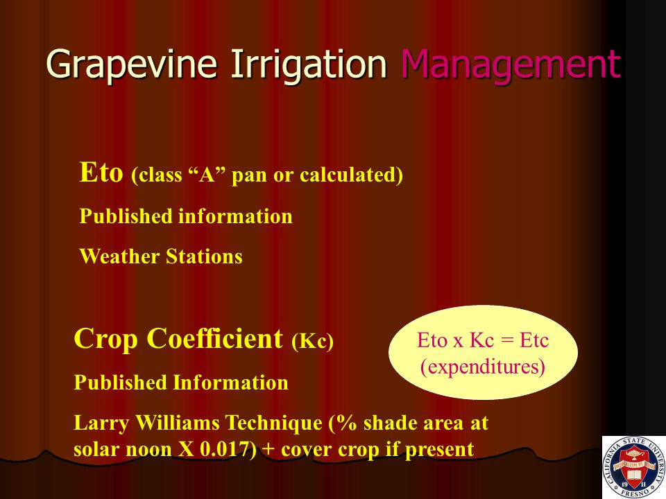 Grapevine Irrigation Management Eto x Kc = Etc (expenditures) Crop Coefficient (Kc) Published Information Larry Williams Technique (% shade area at solar noon X 0.017) + cover crop if present Eto (class A pan or calculated) Published information Weather Stations