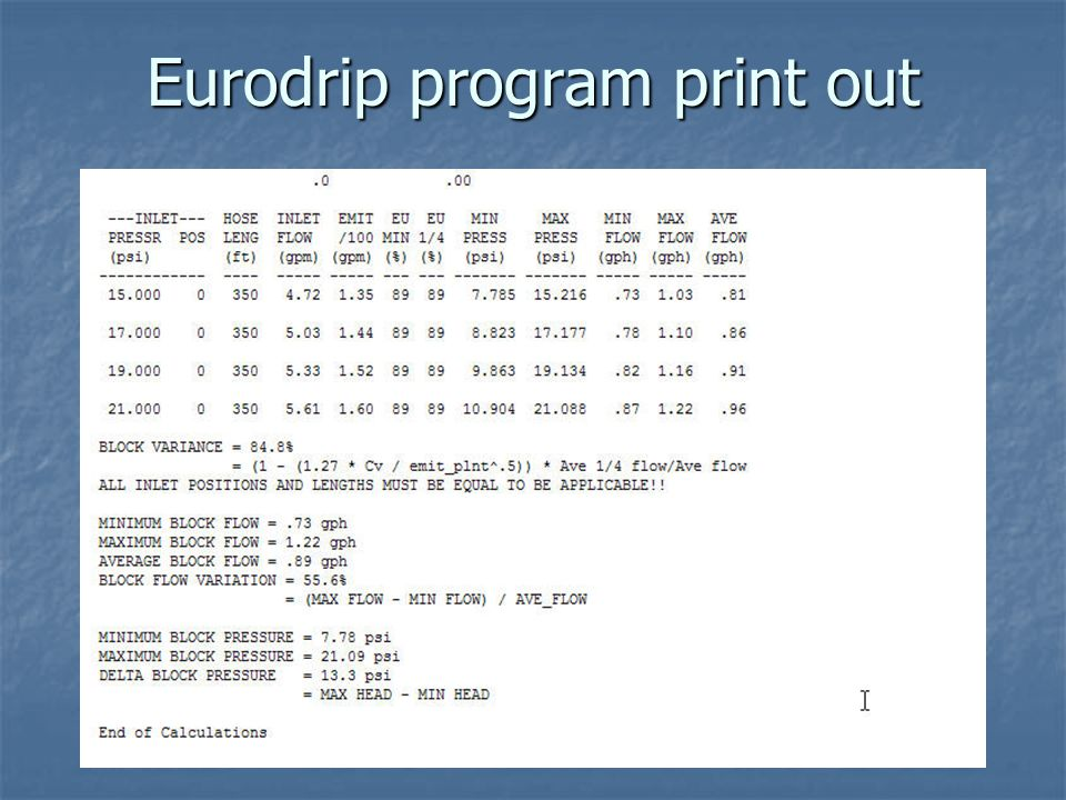 Eurodrip program print out