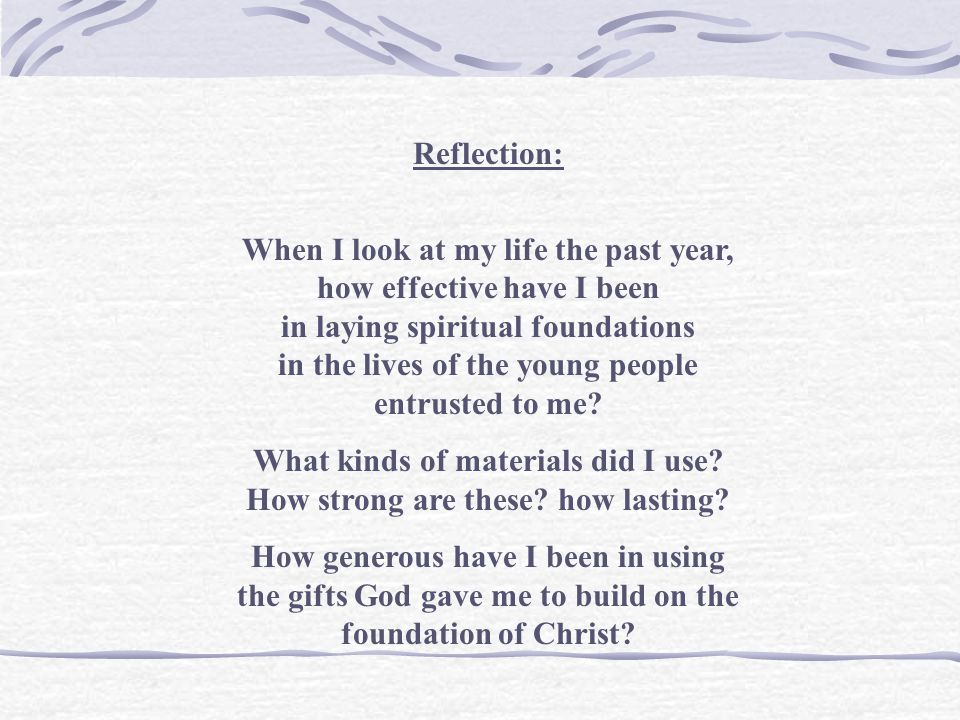 1 Corinthians 3:9b-15 You are also God's building. Using the gift that God gave me, I did the work of an expert builder and laid the foundation, and a