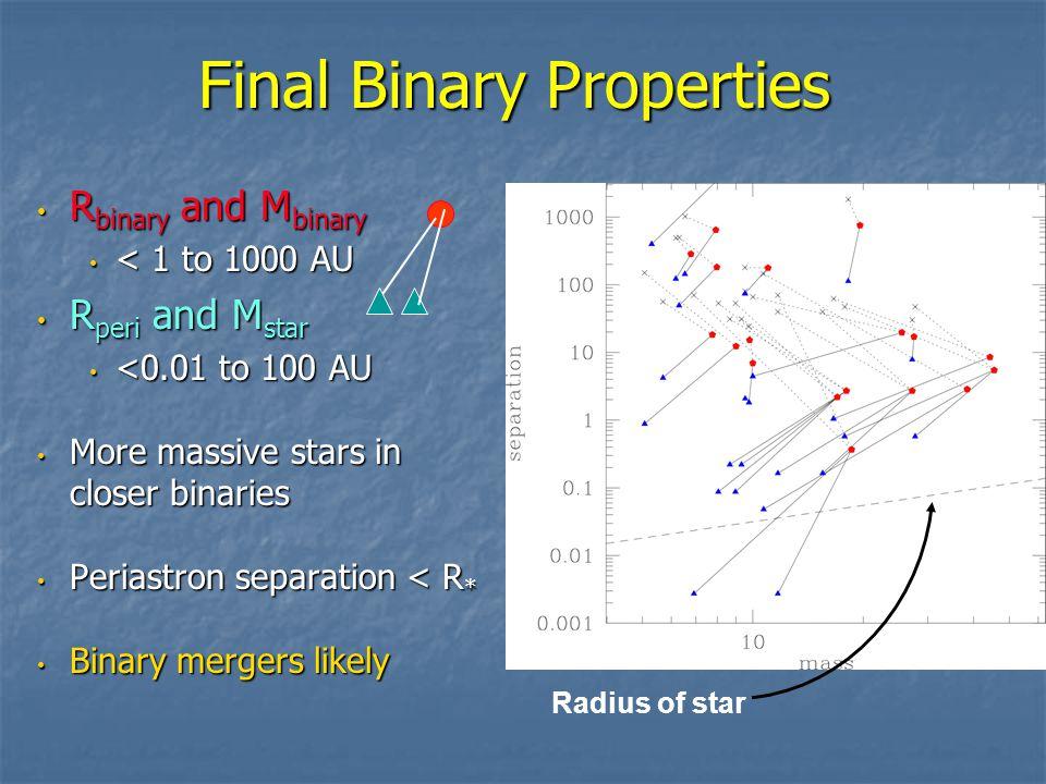 Final Binary Properties R binary and M binary R binary and M binary < 1 to 1000 AU < 1 to 1000 AU R peri and M star R peri and M star <0.01 to 100 AU <0.01 to 100 AU More massive stars in closer binaries More massive stars in closer binaries Periastron separation < R * Periastron separation < R * Binary mergers likely Binary mergers likely Radius of star