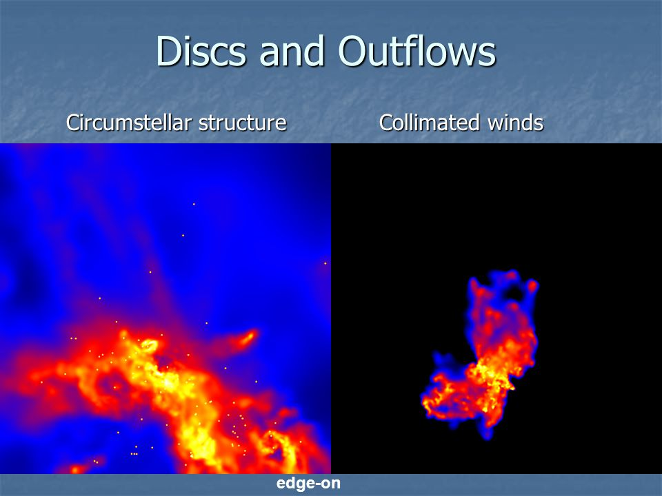 Discs and Outflows Circumstellar structure Circumstellar structure Collimated winds Collimated winds edge-on