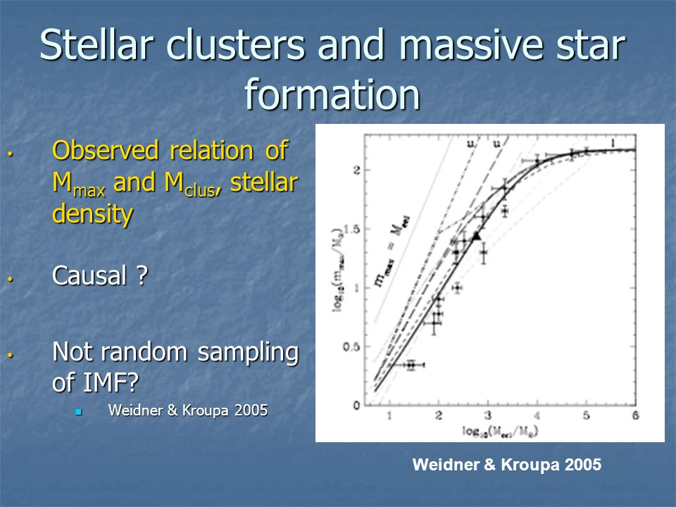 Stellar clusters and massive star formation Observed relation of M max and M clus, stellar density Observed relation of M max and M clus, stellar density Causal .