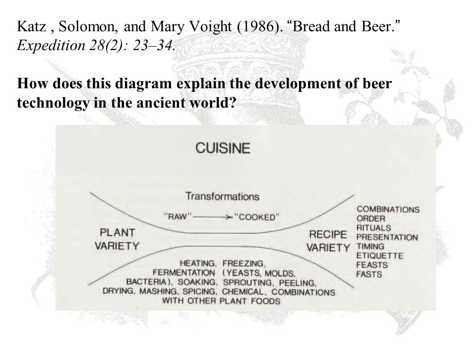 Katz, Solomon, and Mary Voight (1986). Bread and Beer. Expedition 28(2): 23–34.