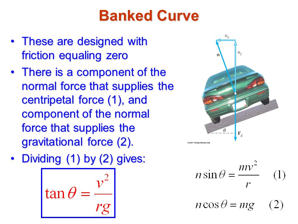 Banked Curve These are designed with friction equaling zeroThese are designed with friction equaling zero There is a component of the normal force tha