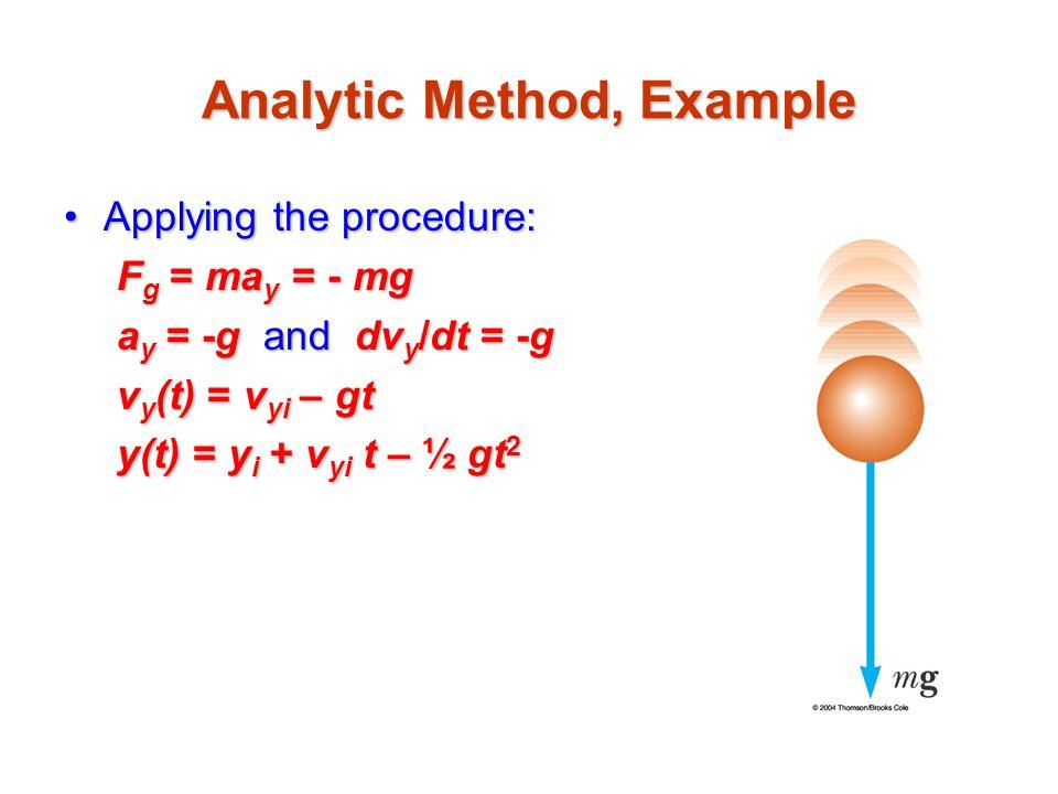 Analytic Method, Example Applying the procedure:Applying the procedure: F g = ma y = - mg a y = -g and dv y /dt = -g v y (t) = v yi – gt y(t) = y i +