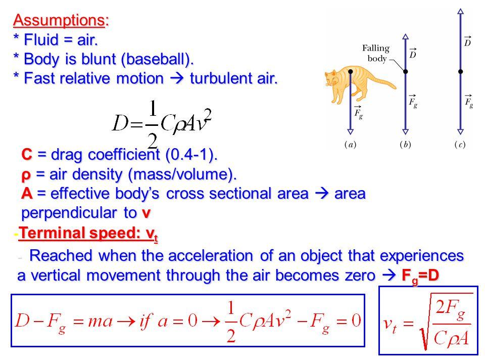 Terminal speed: v t - Terminal speed: v t Assumptions: * Fluid = air. * Body is blunt (baseball). * Fast relative motion  turbulent air. C = drag coe