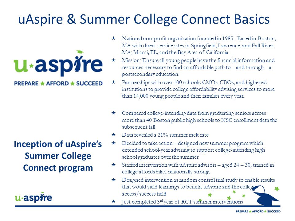 uAspire & Summer College Connect Basics  National non-profit organization founded in 1985.