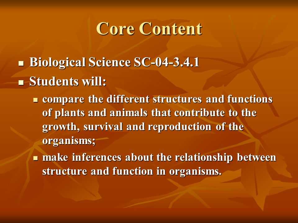 Core Content Biological Science SC-04-3.4.1 Biological Science SC-04-3.4.1 Students will: Students will: compare the different structures and functions of plants and animals that contribute to the growth, survival and reproduction of the organisms; compare the different structures and functions of plants and animals that contribute to the growth, survival and reproduction of the organisms; make inferences about the relationship between structure and function in organisms.