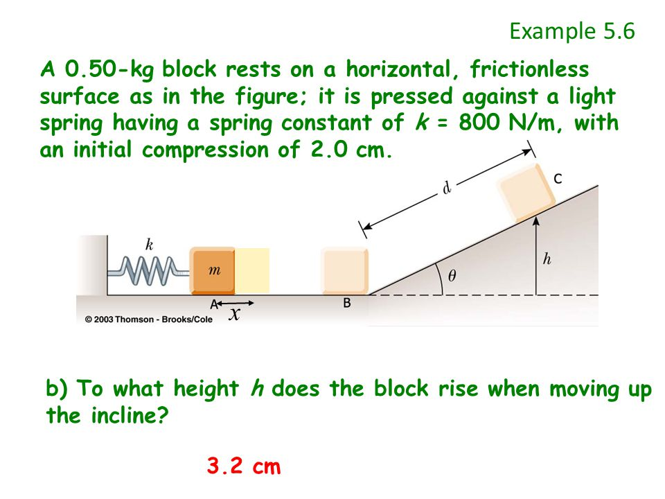 x Example 5.6 b) To what height h does the block rise when moving up the incline.