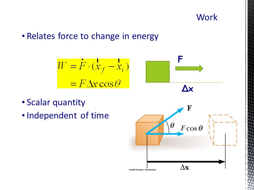 Relates force to change in energy Scalar quantity Independent of time Work ∆x F