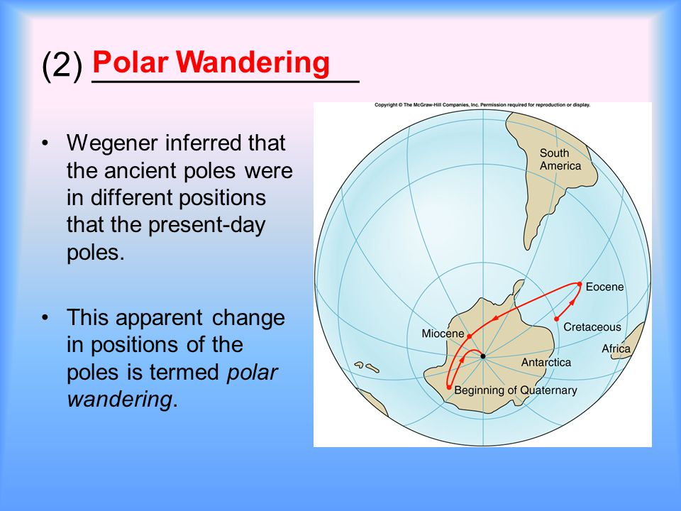 (2) ______________ Wegener inferred that the ancient poles were in different positions that the present-day poles.