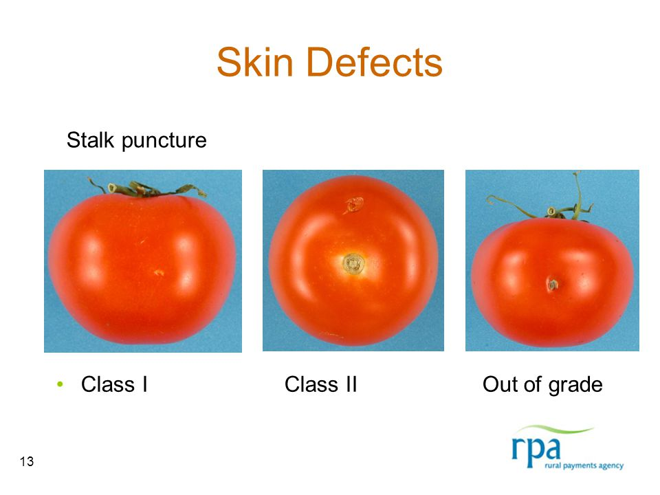 13 Skin Defects Class I Class II Out of grade Stalk puncture