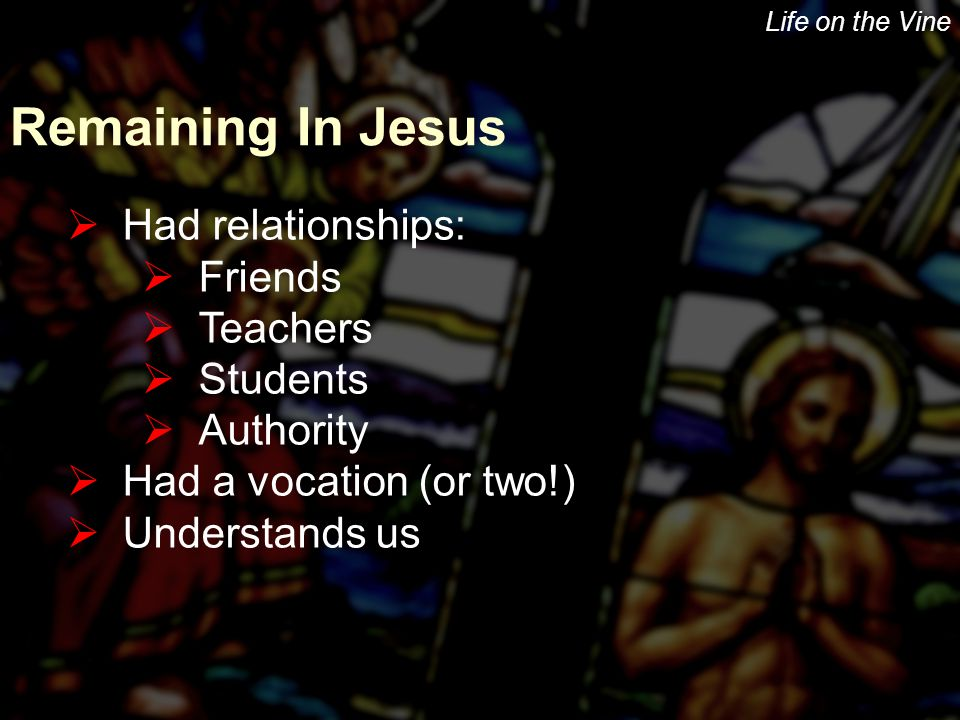 Life on the Vine Remaining In Jesus  Had relationships:  Friends  Teachers  Students  Authority  Had a vocation (or two!)  Understands us