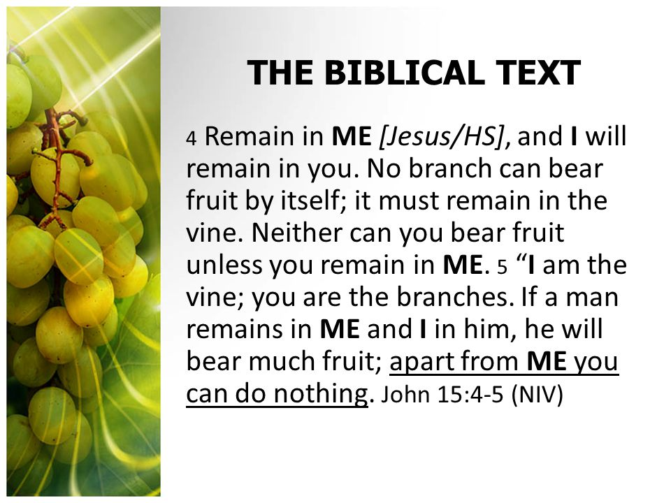 THE BIBLICAL TEXT 4 Remain in ME [Jesus/HS], and I will remain in you.