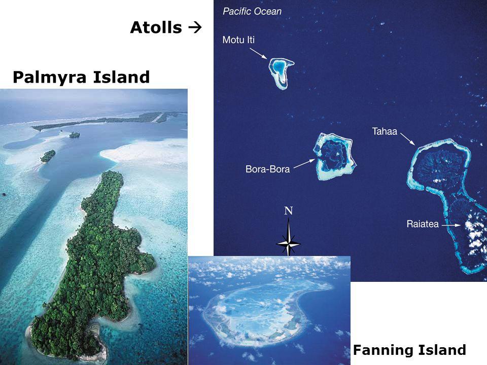 Atolls  Palmyra Island Fanning Island