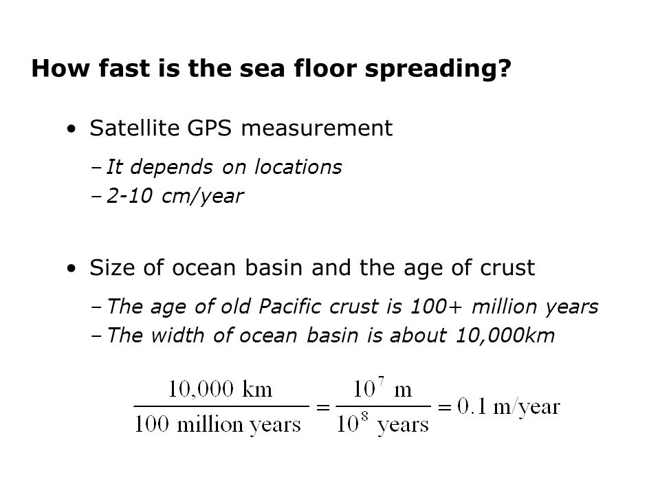How fast is the sea floor spreading.
