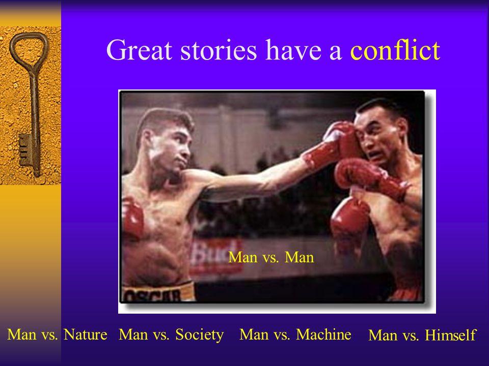Great stories have a conflict Man vs.Man Man vs. NatureMan vs.