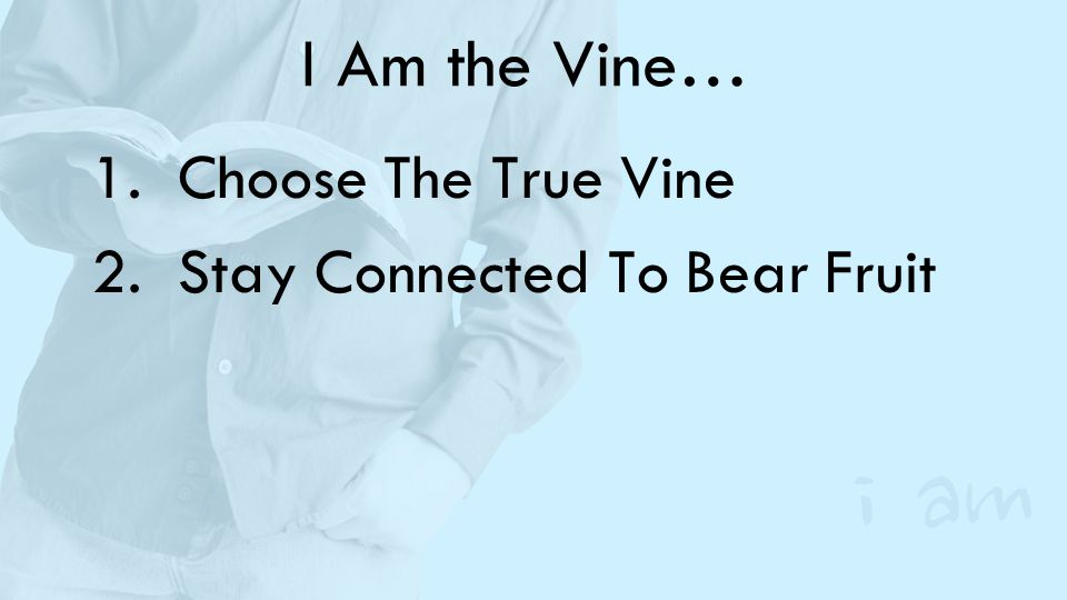 I Am the Vine… 1.Choose The True Vine 2.Stay Connected To Bear Fruit