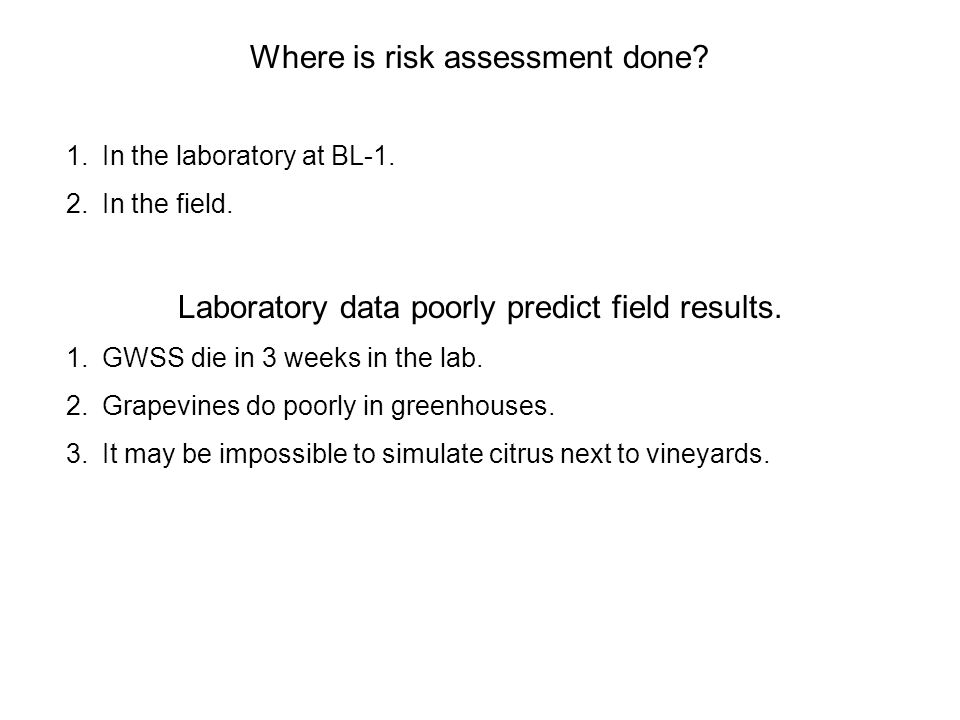 Where is risk assessment done. 1.In the laboratory at BL-1.