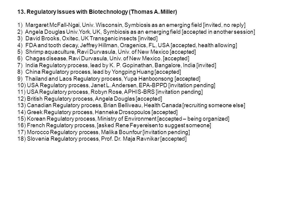13. Regulatory Issues with Biotechnology (Thomas A.
