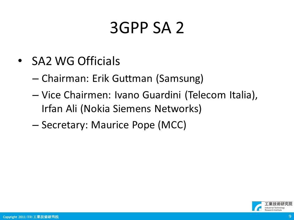 9 Copyright 2011 ITRI 工業技術研究院 3GPP SA 2 SA2 WG Officials – Chairman: Erik Guttman (Samsung) – Vice Chairmen: Ivano Guardini (Telecom Italia), Irfan Al