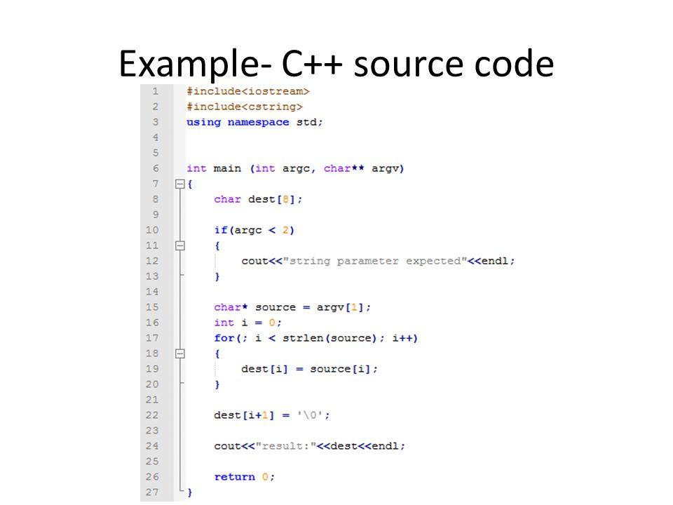 Example- C++ source code