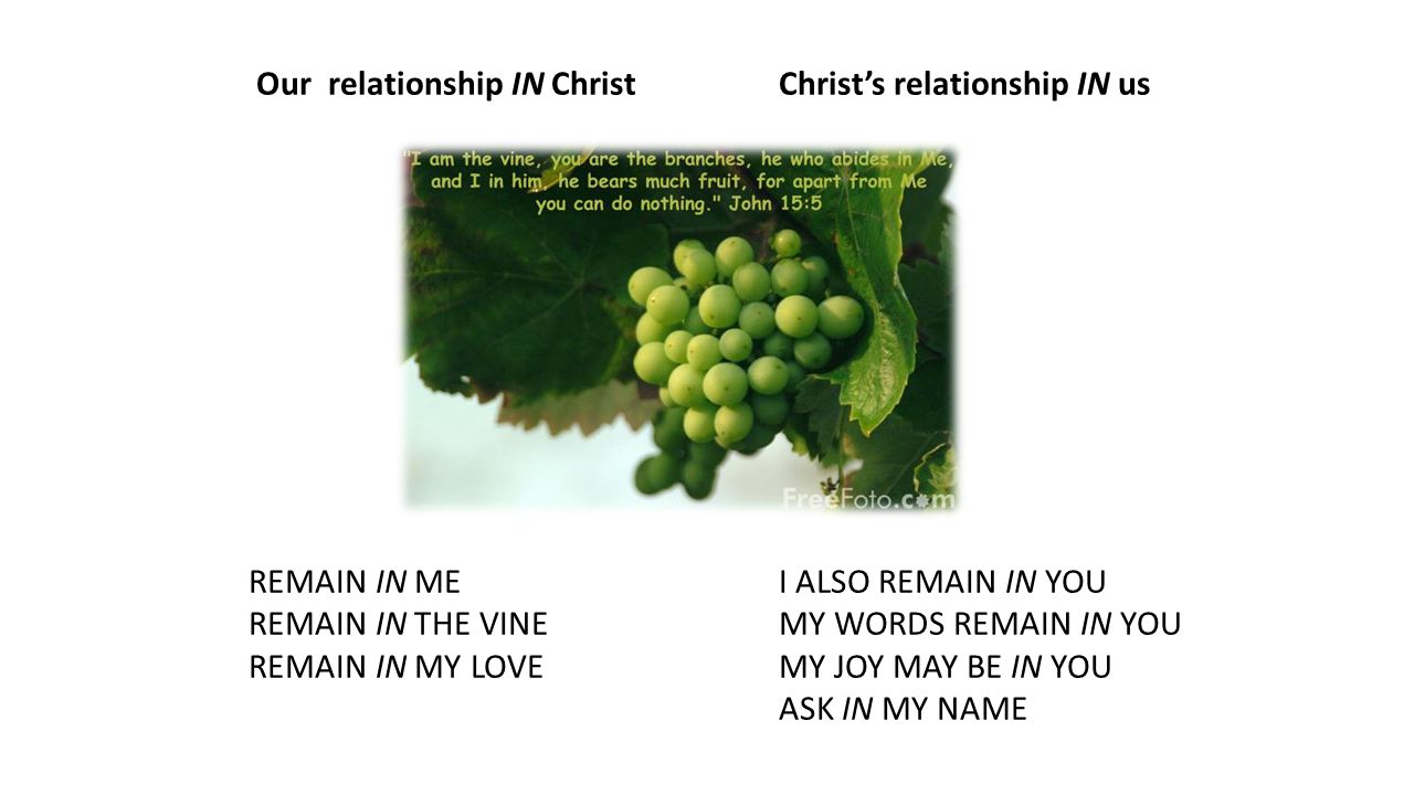 Our relationship IN ChristChrist's relationship IN us REMAIN IN MEI ALSO REMAIN IN YOU REMAIN IN THE VINEMY WORDS REMAIN IN YOU REMAIN IN MY LOVEMY JOY MAY BE IN YOU ASK IN MY NAME