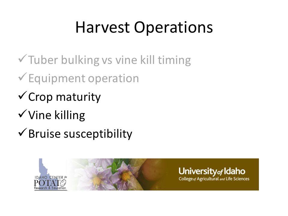 Harvest Operations Tuber bulking vs vine kill timing Equipment operation Crop maturity Vine killing Bruise susceptibility