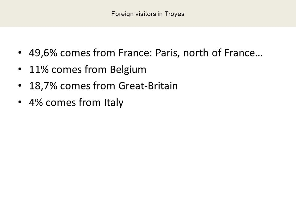 49,6% comes from France: Paris, north of France… 11% comes from Belgium 18,7% comes from Great-Britain 4% comes from Italy Foreign visitors in Troyes