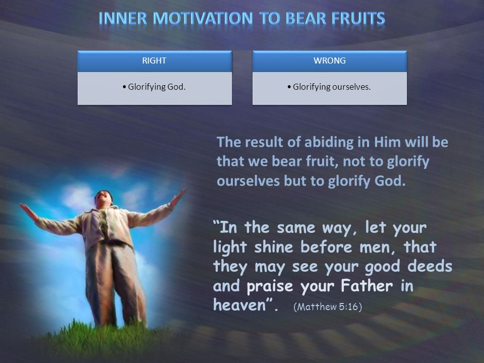 The result of abiding in Him will be that we bear fruit, not to glorify ourselves but to glorify God.