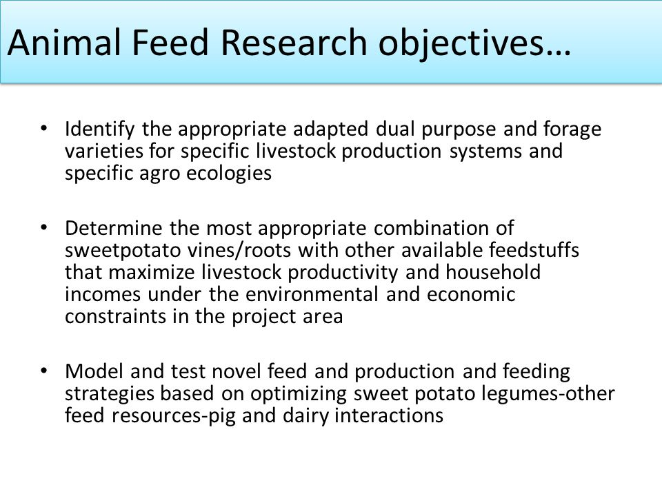 Animal Feed Research objectives… Identify the appropriate adapted dual purpose and forage varieties for specific livestock production systems and spec