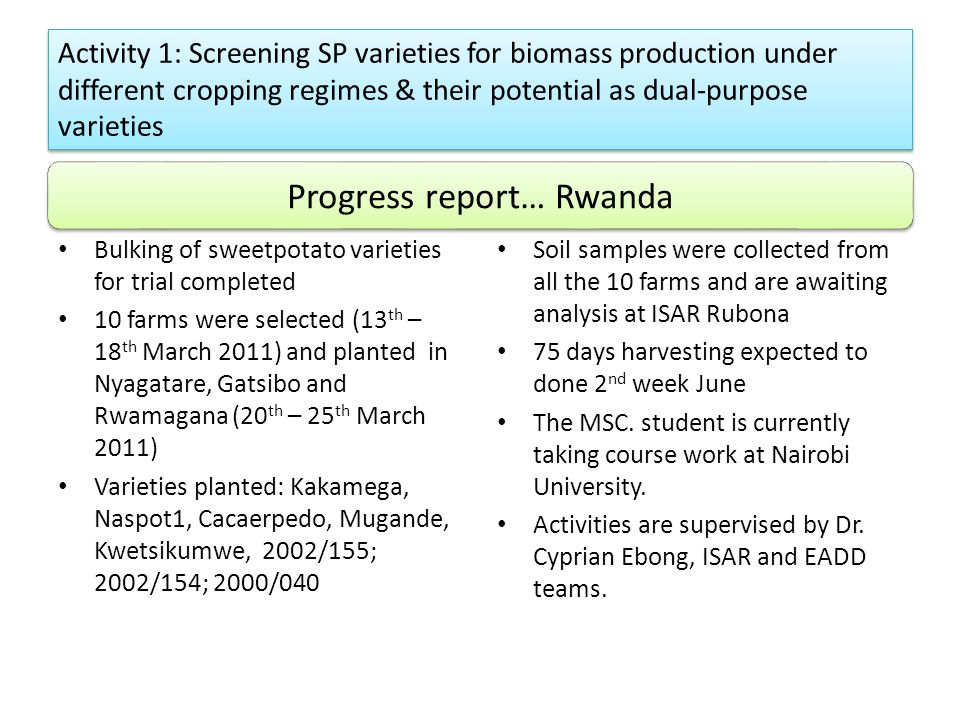 Activity 1: Screening SP varieties for biomass production under different cropping regimes & their potential as dual-purpose varieties Soil samples we