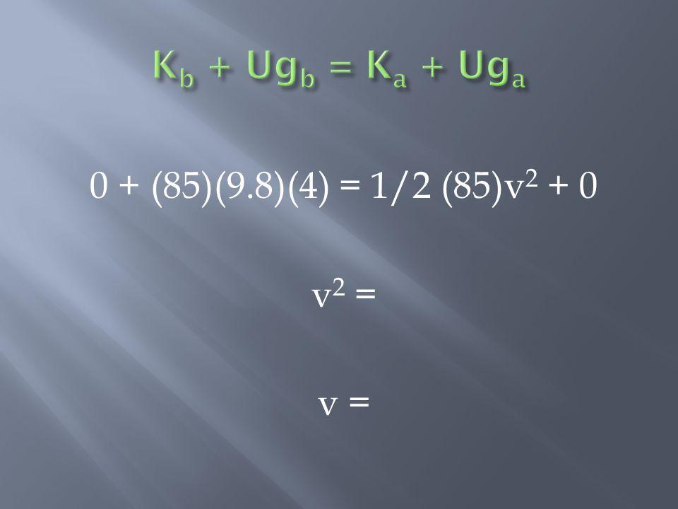 0 + (85)(9.8)(4) = 1/2 (85)v 2 + 0 v 2 = v =