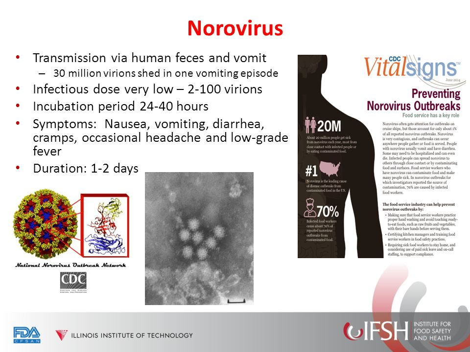 Norovirus Transmission via human feces and vomit – 30 million virions shed in one vomiting episode Infectious dose very low – 2-100 virions Incubation