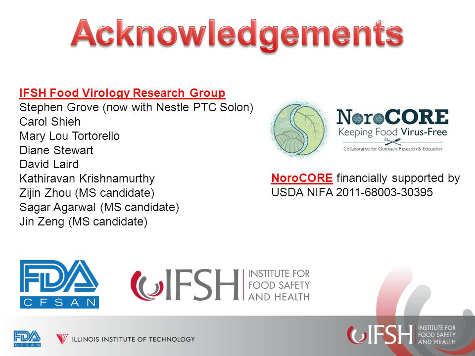 IFSH Food Virology Research Group Stephen Grove (now with Nestle PTC Solon) Carol Shieh Mary Lou Tortorello Diane Stewart David Laird Kathiravan Krish