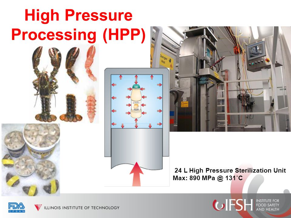 High Pressure Processing (HPP) 24 L High Pressure Sterilization Unit Max: 890 MPa @ 131˚C