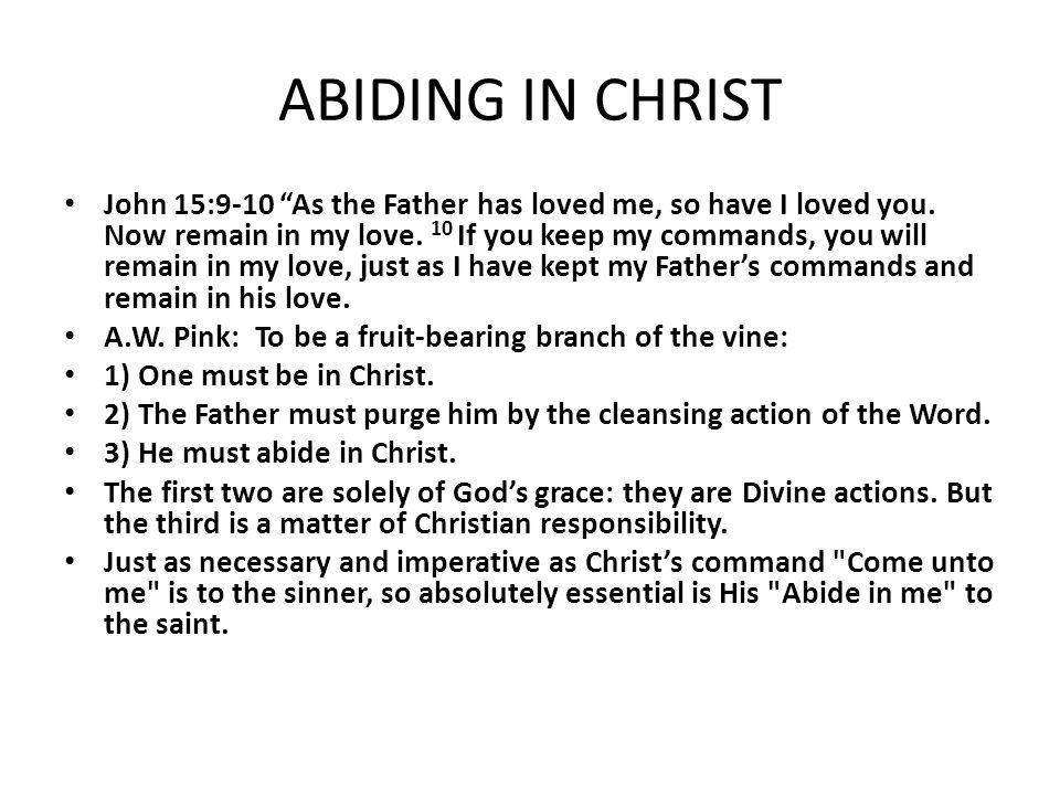 "ABIDING IN CHRIST John 15:9-10 ""As the Father has loved me, so have I loved you. Now remain in my love. 10 If you keep my commands, you will remain in"