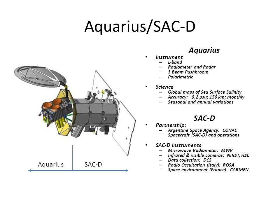 Aquarius/SAC-D Aquarius Instrument – L-band – Radiometer and Radar – 3 Beam Pushbroom – Polarimetric Science – Global maps of Sea Surface Salinity – Accuracy: 0.2 psu; 150 km; monthly – Seasonal and annual variations SAC-D Partnership: – Argentine Space Agency: CONAE – Spacecraft (SAC-D) and operations SAC-D Instruments – Microwave Radiometer: MWR – Infrared & visible cameras: NIRST, HSC – Data collection: DCS – Radio Occultation (Italy): ROSA – Space environment (France): CARMEN AquariusSAC-D