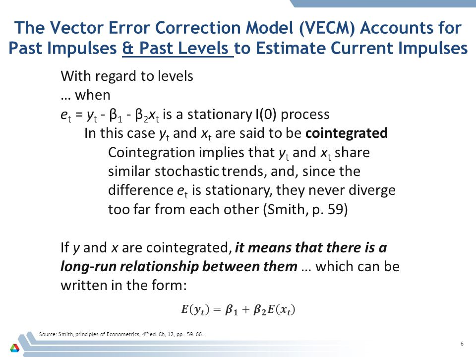 The Vector Error Correction Model (VECM) Accounts for Past Impulses & Past Levels to Estimate Current Impulses Source: Smith, principles of Econometrics, 4 th ed.