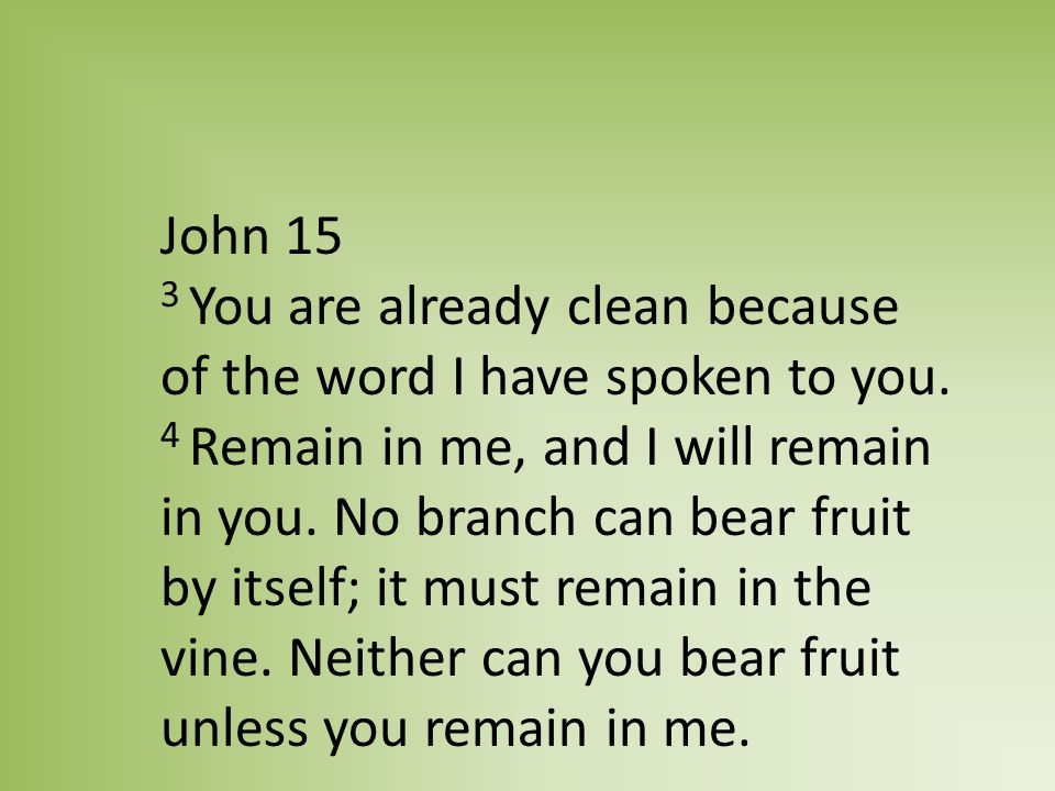 John 15 3 You are already clean because of the word I have spoken to you.